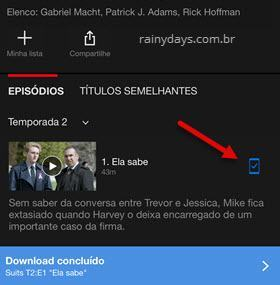 Download concluído no Netflix