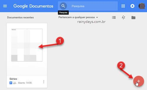 Editar ou criar documento Google Docs