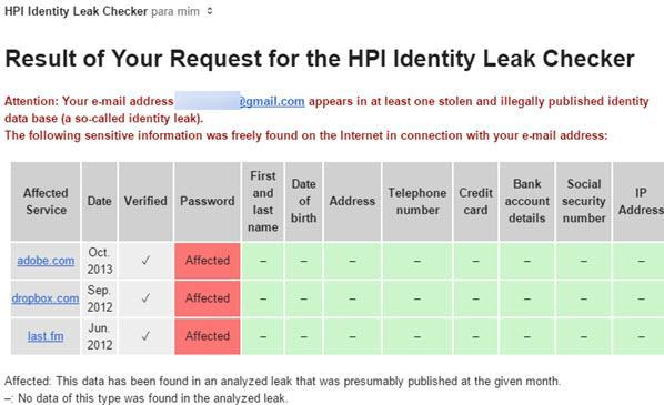 email HPI sobre vazamento de dados