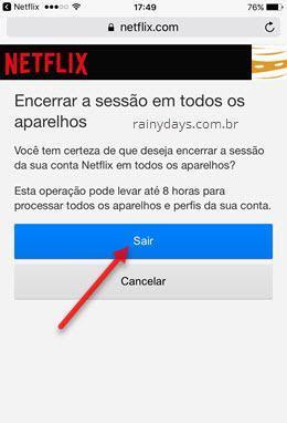 encerrar sessão em todos aparelhos pelo app Netflix