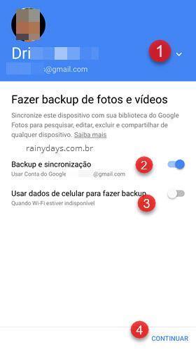 Fazer backup de fotos e vídeos Google Fotos