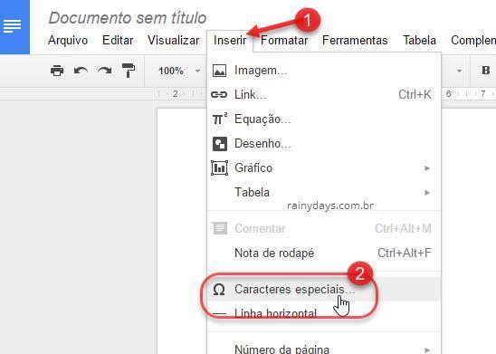 Inserir caracteres especiais no Google Docs