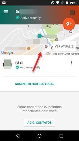 Local de amigo no contato de confiança Google