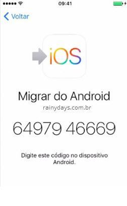 migrar do Android para iPhone