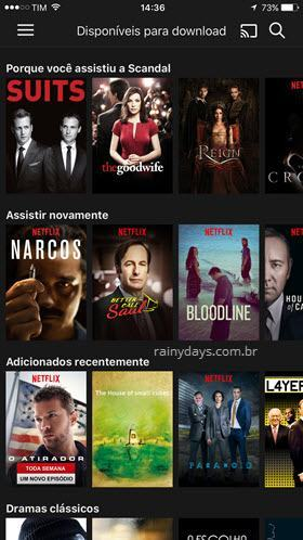 Netflix disponíveis para download