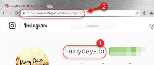 nome de usuário e link do perfil no Instagram
