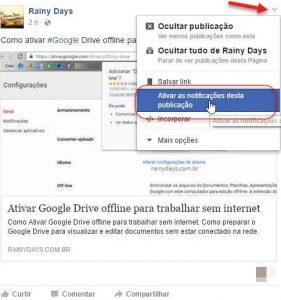 Receber notificação de um post no Facebook sem comentar