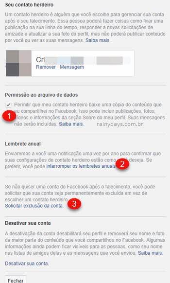 Seu contato herdeiro permissão cópia dados, lembrete e exclusão de conta Facebook