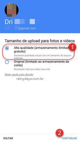 taamanho upload alta qualidade Google Fotos