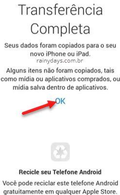 transferir dados do Android para iPhone 2