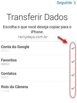 transferir dados do Android para iPhone
