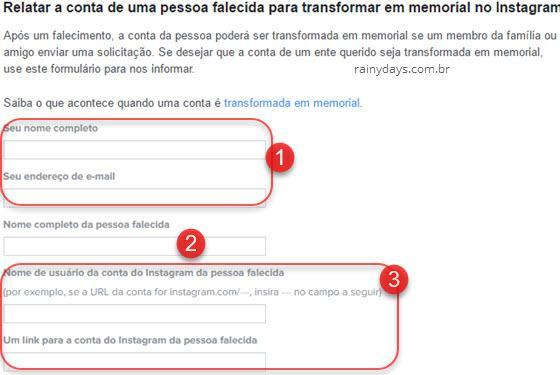 Transformar conta do Instagram em memorial 1