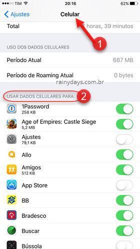 usar dados de celulares para no iOS