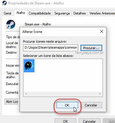 Alteração do ícone do atalho do jogo Steam Windows