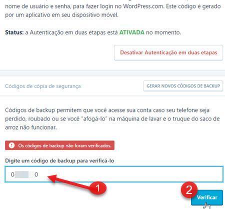 códigos de cópia de segurança WordPress