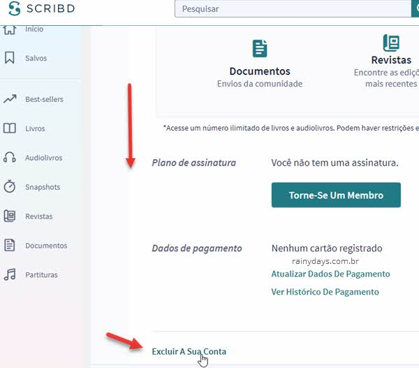 Como cancelar conta do Scribd excluir