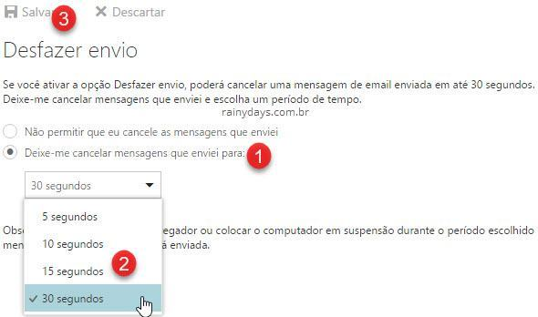 como cancelar envio de email no Outlook