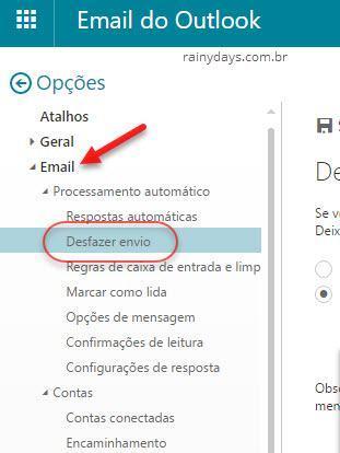 Como desfazer envio de email no Outlook