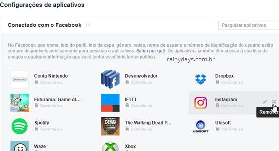 Remover aplicativo no Facebook desautorizar