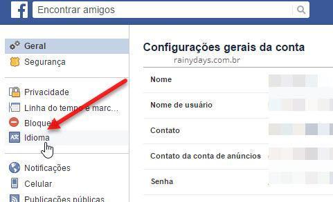 configurações de Idioma Facebook