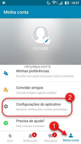configurações do aplicativo Happn