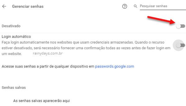 Desativar salvamento de senha nos navegadores Chrome passwords