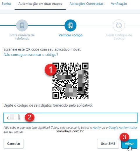 escanear código QR no WordPress duas etapas