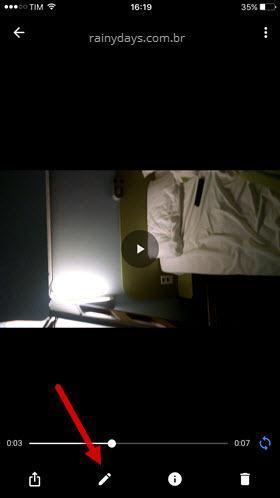ícone do lápis editar vídeo no Google Fotos