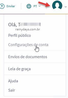 ícone perfil configurações de conta Scribd