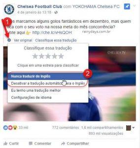Desativar tradução do Facebook de idiomas que você sabe