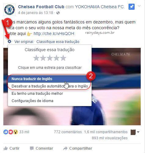 não traduzir de inglês no Facebook