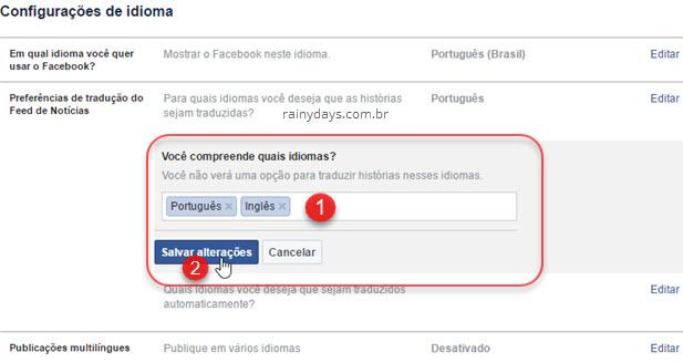 Preferências de tradução Facebook compreende idioma