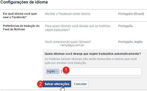 Preferências de tradução Facebook não traduzir automático