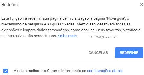redefinir Google Chrome para configurações padrão