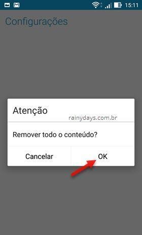 remover todo conteúdo de credenciais Android