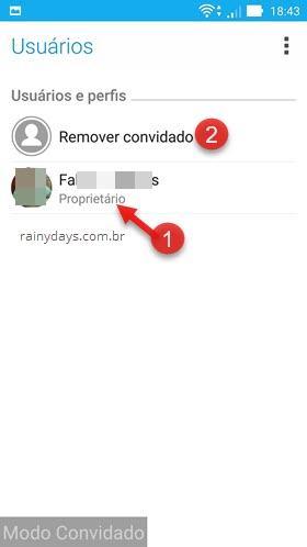 Remover usuário convidado do Android 2