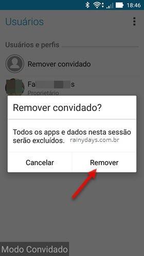 Remover usuário convidado do Android 3