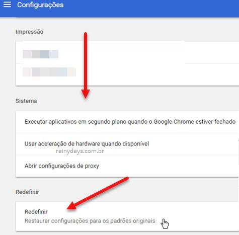 Como resetar Google Chrome para configurações padrão