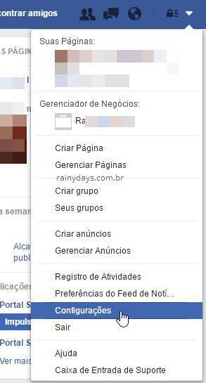 setinha configurações do Facebook