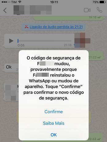 toque confirme para confirmar código de segurança WhatsAPp