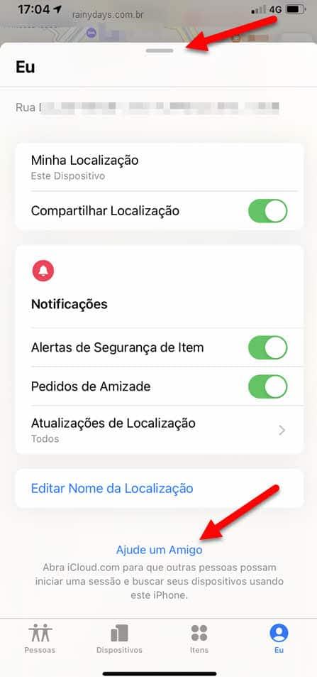 Ajude um amigo app Buscar iPhone