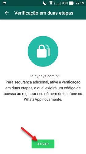 Ativar verificação em duas etapas no WhatsApp Android