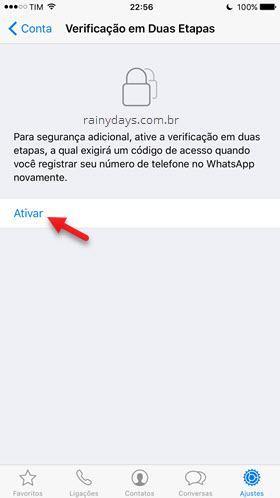 Ativar verificação em duas etapas no WhatsApp iPhone