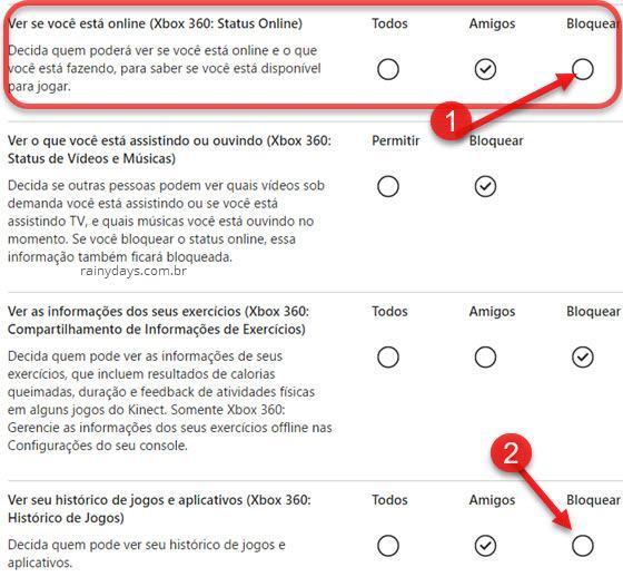 Bloquear status online do Xbox