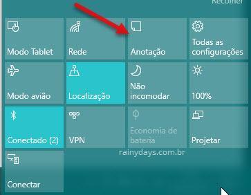 Botão Anotação das Ações Rápidas do Windows