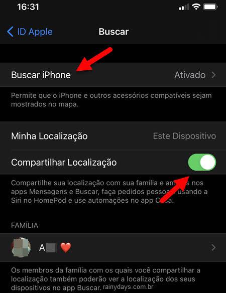 Buscar iPhone, compartilhar localização Família