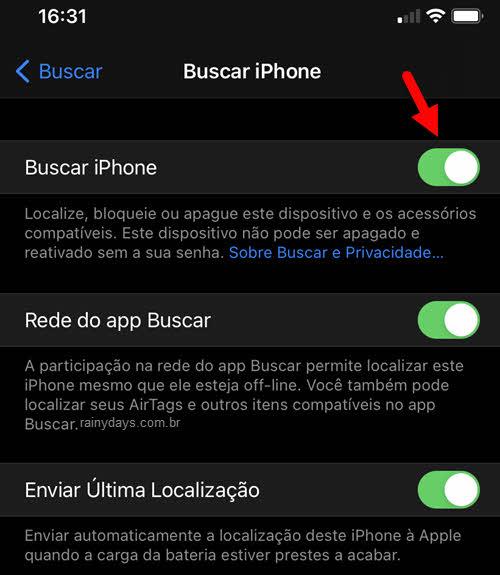 Como ativar ou desativar o Buscar iPhone no dispositivo
