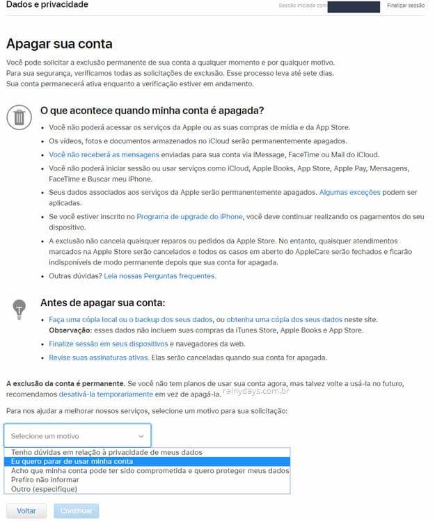Como excluir conta da Apple Apple ID permanente