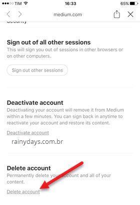 Como excluir conta do Medium pelo iPhone Android