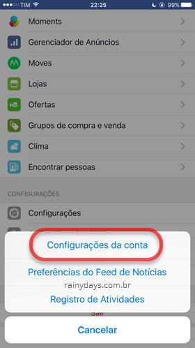 Configurações de conta Facebook iPhone